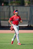 Philadelphia Phillies outfielder Jose Cedeno (16) catches a fly ball during an Extended Spring Training game against the Toronto Blue Jays on June 12, 2021 at the Carpenter Complex in Clearwater, Florida. (Mike Janes/Four Seam Images)