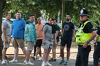 Police mount a large operation in Cambridge to keep around 35 Free Tommy Robinson demonstrators apart from several hundred anti fascists holding a counter protest. 22-7-18