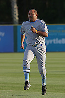 Jason Taylor #35 of the Wilmington Blue Rocks running in the outfield before a game against the Myrtle Beach Pelicans on April 10, 2010  in Myrtle Beach, SC.
