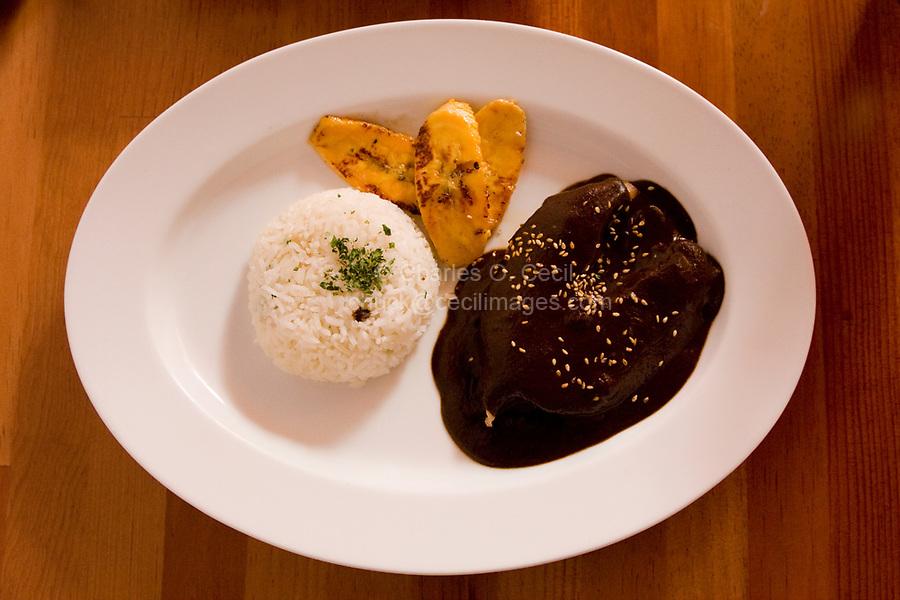 Oaxaca; Mexico; North America.  Lunch.  Turkey Breast in Black Mole Sauce with Rice and Sauteed Bananas.  Casa Oaxaca Restaurant.