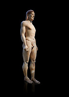 Parian Mable Ancient Greek Archaic statue of a kouros, found in Anavyssos, Attica, circa 530 BC, Athens National Archaeological Museum. Cat no 3851.  Against blackb<br /> <br /> The body of the statue is powerful and articulate with empahasised muscles. This was a funerary statue from the grave of Kroisos, as indicated bt the inscription on its base reading, 'stop and mourn at the grave of Kroiusos, whom raging Ares destroyed when he fought among the defenders'.
