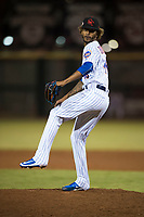 Scottsdale Scorpions relief pitcher Gerson Bautista (46), of the New York Mets organization, delivers a pitch during an Arizona Fall League game against the Mesa Solar Sox on October 9, 2018 at Scottsdale Stadium in Scottsdale, Arizona. The Solar Sox defeated the Scorpions 4-3. (Zachary Lucy/Four Seam Images)