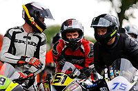 11th September 2021; Cookstown, County Tyrone, Northern Ireland, Cookstown 100 Road Races: Keith Richardson relaxes and share a laugh with fellow competitors ahead of racing