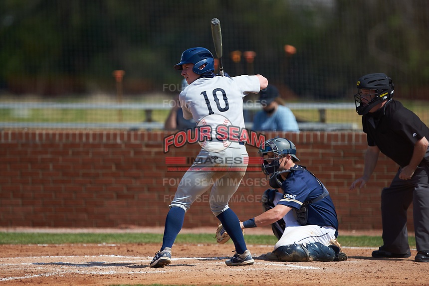 Zach Kelly (10) of the Catawba Indians at bat during game two of a double-header against the Queens Royals at Tuckaseegee Dream Fields on March 26, 2021 in Kannapolis, North Carolina. (Brian Westerholt/Four Seam Images)