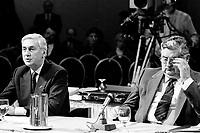 Montreal (QC) Canada- - DEc  1986 File Photo- CRTC Hearing- - Andre Chagnon<br /> , Videotron (L), Roland Giguere, Tele-Metropole (R)