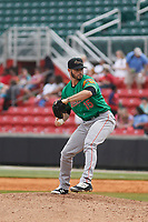 Down East Wood Ducks pitcher Steven Bruce (15) on the mound during a game against the Carolina Mudcats  on April 27, 2017 at Five County Stadium in Zebulon, North Carolina. Carolina defeated Down East 9-7. (Robert Gurganus/Four Seam Images)