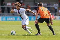 Andreas Breimyr of Crystal Palace (left) and Sam Muggleton of Barnet during the Friendly match between Barnet and Crystal Palace at The Hive, London, England on 11 July 2015. Photo by David Horn.