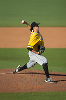 West Virginia Power starting pitcher John Sever (32) in action against the Kannapolis Intimidators at CMC-Northeast Stadium on April 21, 2015 in Kannapolis, North Carolina.  The Power defeated the Intimidators 5-3 in game one of a double-header.  (Brian Westerholt/Four Seam Images)