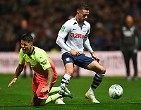 Preston North End's Alan Browne fouls Manchester City's Joao Cancelo<br /> <br /> Photographer Dave Howarth/CameraSport<br /> <br /> The Carabao Cup Third Round - Preston North End v Manchester City - Tuesday 24th September 2019 - Deepdale Stadium - Preston<br />  <br /> World Copyright © 2019 CameraSport. All rights reserved. 43 Linden Ave. Countesthorpe. Leicester. England. LE8 5PG - Tel: +44 (0) 116 277 4147 - admin@camerasport.com - www.camerasport.com