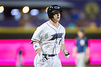 Zack Collins (8) of the Winston-Salem Dash jogs towards home plate after hitting a home run against the Myrtle Beach Pelicans at BB&T Ballpark on May 11, 2017 in Winston-Salem, North Carolina.  The Pelicans defeated the Dash 9-7.  (Brian Westerholt/Four Seam Images)