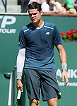 Milos Raonic (CAN) during his semifinal match against Roger Federer (SUI). Federer advanced to Sunday's final after defeating Raonic 75 64 at the BNP Parisbas Open in Indian Wells, CA on March 21, 2015.