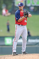 Pitcher Robert Orlan (26) of the Hagerstown Suns, delivers a pitch in a game against the Greenville Drive on May 12, 2015, at Fluor Field at the West End in Greenville, South Carolina. Greenville won, 4-0. (Tom Priddy/Four Seam Images)