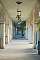 Arched Walkway with hanging lights at the Lightner Museum/St. Augustine City Hall in historic downtown St. Augustine, Florida