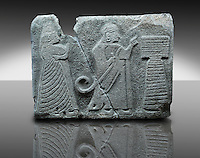 Picture & image of an Imperial Hittite orthostat dshowing a King & Queen before an altar from Alacahöyük , Alaca Çorum Province,, Turkey. An Ankara Museum of Anatolian Civilizations exhibit.