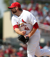 St Louis Cardinals pitcher Mitchell Boggs #41 delivers a pitch during a spring training game against the Detroit Tigers at Roger Dean Stadium on March 28, 2012 in Jupiter, Florida.  Cardinals defeated the Tigers 9-5.  (Mike Janes/Four Seam Images)