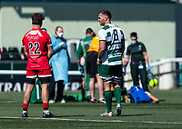 Rayn Smid of Ealing Trailfinders and Josh Bainbridge of Jersey Reds during the Greene King IPA Championship behind closed doors match between Ealing Trailfinders and Jersey Reds at Castle Bar , West Ealing , England  on 17 April 2021. Photo by Liam McAvoy / PRiME Media Images.