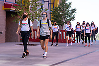 HERRIMAN, UT - JULY 12: Utah Royals FC Arrive at the field during a game between Utah Royals FC and Chicago Red Stars at Zions Bank Stadium on July 12, 2020 in Herriman, Utah.