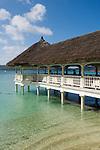 Seychelles, Island Praslin, Anse Petit Cour: resort La Reserve - restaurant, jetty<br />
