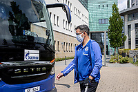 16th May 2020, Gelsenkirchen, Germany; Bundesliga football, Borussia Dortmund versus FC Schalke;   Departure of the FC Schalke 04 team for the game at Borussia Dortmund Head Coach David Wagner FC Schalke 04 with face mask