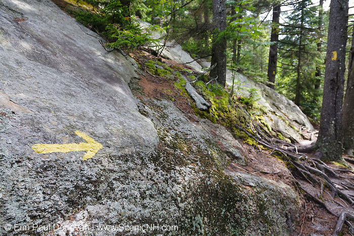 Yellow arrow spray painted on ledge points in the trail direction along the Manning Trail in New Hampshire. This trail climbs to the summit of Firescrew Mountain.
