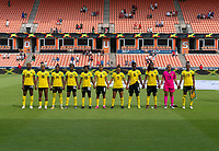 HOUSTON, TX - JUNE 10: Jamaica lines up before a game between Nigeria and Jamaica at BBVA Stadium on June 10, 2021 in Houston, Texas.