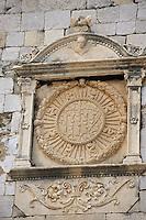 Europe/Croatie/Dalmatie/Dubrovnik: détail sculpture du Palais du Recteur