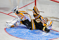 24 January 2009: Boston Bruins goaltender Tim Thomas stops Carolina Hurricanes center Eric Staal in the first round of the Elimination Shootout of the NHL SuperSkills Competition, during the All-Star Weekend at the Bell Centre in Montreal, Quebec, Canada. ***** Editorial Sales Only ***** Mandatory Photo Credit: Ed Wolfstein Photo