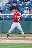 Ryan Hissey (9) of the Vancouver Canadians at bat during a game against the Everett Aquasox at Everett Memorial Stadium in Everett, Washington on July 27, 2015.  Everett defeated Vancouver 6-0. (Ronnie Allen/Four Seam Images)