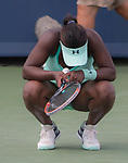 August 19,2017:   Sloane Stephens (USA) loses to Simona Halep (ROU) 6-2, 6-1, at the Western & Southern Open being played at Lindner Family Tennis Center in Mason, Ohio.  ©Leslie Billman/Tennisclix
