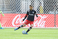 WASHINTON, DC - FEBRUARY 29: Washington, D.C. - February 29, 2020: Steven Birnbaum #15 of D.C. United moves the ball during a game between D.C. United and the Colorado Rapids. The Colorado Rapids defeated D.C. United 2-1 during their Major League Soccer (MLS)  match at Audi Field during a game between Colorado Rapids and D.C. United at Audi FIeld on February 29, 2020 in Washinton, DC.