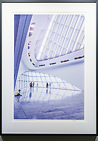 """Musings on Calatrava Design 2, Milwaukee<br /> <br /> Signed, Limited Edition Giclee print on fine art paper.<br /> <br /> Image size 22.5""""h x 15""""w on 17"""" x 25"""" sheet. Framed size 28.75""""h x 20.75""""w. Nielsen 117 Matte Black frame with non-glare acrylic glazing.<br /> <br /> $700. Available thru Beacon Gallery."""