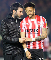Lincoln City manager Danny Cowley, left, with Lincoln City's Bruno Andrade<br /> <br /> Photographer Chris Vaughan/CameraSport<br /> <br /> The EFL Sky Bet League Two - Lincoln City v Exeter City - Tuesday 26th February 2019 - Sincil Bank - Lincoln<br /> <br /> World Copyright © 2019 CameraSport. All rights reserved. 43 Linden Ave. Countesthorpe. Leicester. England. LE8 5PG - Tel: +44 (0) 116 277 4147 - admin@camerasport.com - www.camerasport.com