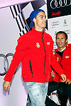 Real Madrid players Cristiano Ronaldo (l) and Ricardo Carvalho participate and receive new Audi during the presentation of Real Madrid's new cars made by Audi at the Jarama racetrack on November 8, 2012 in Madrid, Spain.(ALTERPHOTOS/Harry S. Stamper)