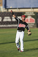 Seth Spivey (6) of the High Desert Mavericks throws before a game against the Inland Empire 66ers at Mavericks Stadium on May 6, 2015 in Adelanto, California. Inland Empire defeated High Desert, 10-4. (Larry Goren/Four Seam Images)