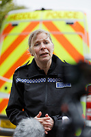 """Pictured: South Wales Police Assistant Chielf Constable Jenny Gilmer speaks with members of the press at the police station in the Townhill area of Swansea, Wales, UK. Friday 21 May 2021<br /> Re: Gangs of """"yobs"""" have been setting fire to cars and rolling them down a hill in Swansea, Wales, UK.<br /> South Wales Police said they attended """"large scale disorder"""" in the Mayhill area of the city on Thursday evening."""