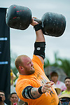 HAINAN ISLAND, CHINA - AUGUST 24:  Hafthor Bjornsson of Iceland competes at the Circus Medley event during the World's Strongest Man competition at Yalong Bay Cultural Square on August 24, 2013 in Hainan Island, China.  Photo by Victor Fraile