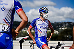 Thibaut Pinot (FRA) and Groupama-FDJ at sign on before the start of Stage 3 of Tour de France 2020, running 198km from Nice to Sisteron, France. 31st August 2020.<br /> Picture: ASO/Pauline Ballet | Cyclefile<br /> All photos usage must carry mandatory copyright credit (© Cyclefile | ASO/Pauline Ballet)