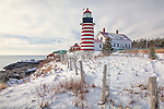 A winter day at West Quoddy Head Light in Lubec, Downeast, ME, USA
