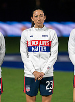 ORLANDO, FL - FEBRUARY 24: Christen Press #23 of the USWNT stands for the national anthem before a game between Argentina and USWNT at Exploria Stadium on February 24, 2021 in Orlando, Florida.