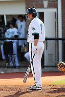 Taylor Motter #7 of the Coastal Carolina University Chanticleers at bat against the Boston College Eagles at Watson Stadium at Vrooman Field in Conway, South Carolina on February 18, 2011. Photo by Robert Gurganus/Four Seam Images