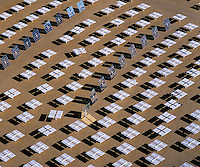 aerial photograph mirrored heliostats of the Solar Two electrical energy generation project, Daggett, San Bernadino County, California