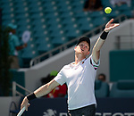 March 26, 2019: Kyle Edmund (GBR) is defeated by John Isner (USA)  6-7(5), 6-7(3), at the Miami Open being played at Hard Rock Stadium in Miami, Florida. ©Karla Kinne/Tennisclix 2010/CSM