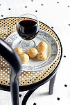 Cheese puffs and red wine. Portfolio only