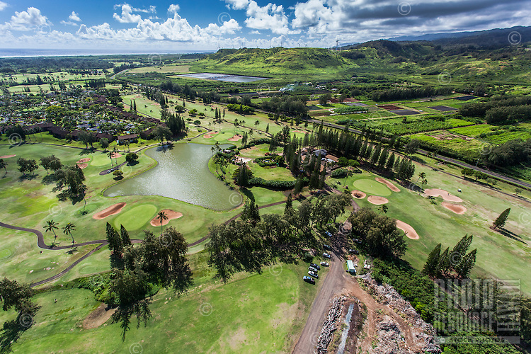 An aerial view of the Fazio Golf Course at Turtle Bay Resort, North Shore, O'ahu.