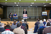 Representative Mike Michaud (Democrat from Maine's Second Congressional District) speaks to the Portland Democratic City Committee town caucus in the East End School cafeteria in Portland, Maine, USA, on March 3, 2014. Michaud is running for governor in 2014. The town caucus had speeches from various other local candidates and also served to choose delegates for the 2014 Maine State Democratic Caucus.