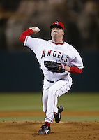Kevin Appier of the Los Angeles Angels pitches during a 2002 MLB season game at Angel Stadium, in Anaheim, California. (Larry Goren/Four Seam Images)