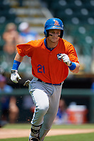 St. Lucie Mets Matt Winaker (21) runs to first base during a Florida State League game against the Bradenton Marauders on July 28, 2019 at LECOM Park in Bradenton, Florida.  Bradenton defeated St. Lucie 7-3.  (Mike Janes/Four Seam Images)