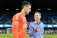 San Jose, CA - Monday July 10, 2017: Andrew Tarbell, Chris Leitch after a U.S. Open Cup quarterfinal match between the San Jose Earthquakes and the Los Angeles Galaxy at Avaya Stadium.