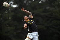 Vaea Fifita wins lineout ball during the Mitre 10 Cup rugby match between Wellington Lions and Tasman Makos at Jerry Collins Stadium in Wellington, New Zealand on Saturday, 31 October 2020. Photo: Dave Lintott / lintottphoto.co.nz