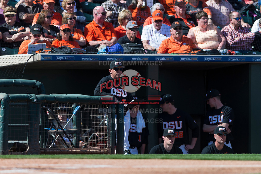 Oregon State Beavers interim head coach Pat Bailey during a game against the Gonzaga Bulldogs on February 16, 2019 at Surprise Stadium in Surprise, Arizona. Oregon State defeated Gonzaga 9-3. (Zachary Lucy/Four Seam Images)